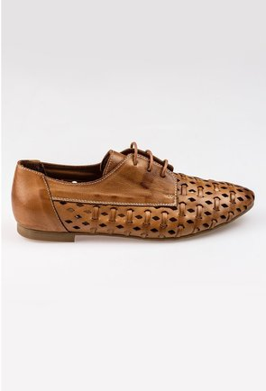 Pantofi maro perforati tip oxford din piele naturala