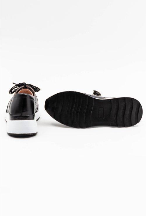 Pantofi negri casual din piele naturala