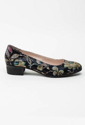 Pantofi negri din piele naturala cu imprimeu floral colorat Dianne