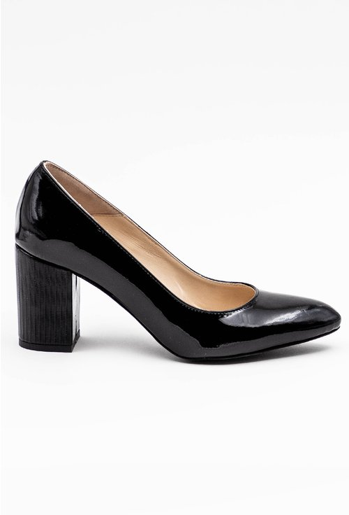 Pantofi negri cu toc din piele naturala lacuita