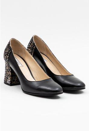 Pantofi negri din piele cu imprimeu floral pe toc