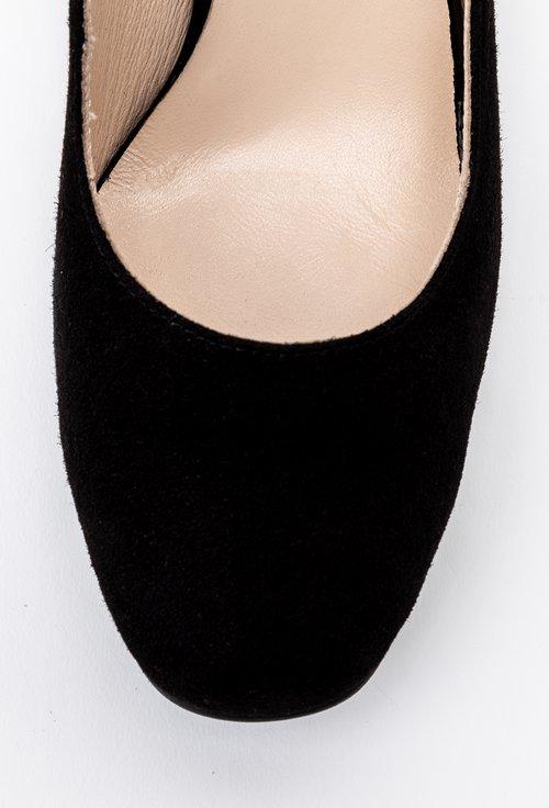 Pantofi negri din piele intoarsa cu detaliu floral pe toc