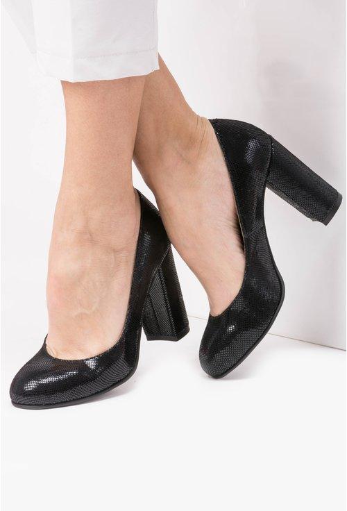 Pantofi negri din piele naturala cu aspect tip piele de reptila Yris