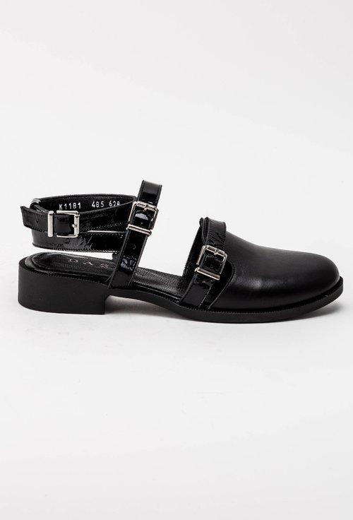 Pantofi negri din piele naturala cu barete Silvia