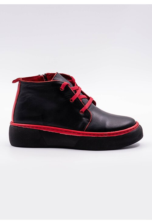 Pantofi negri din piele naturala cu detalii rosii