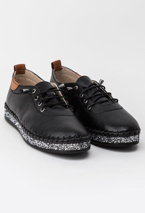 Pantofi negri din piele naturala cu detalii sclipitoare Hiperion