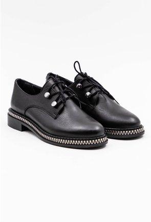 Pantofi negri din piele naturala cu detaliu cu fermoar