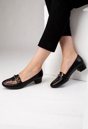 Pantofi negri din piele naturala cu detaliu snake print Genda