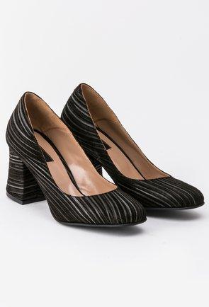 Pantofi negri din piele naturala cu imprimeu argintiu Riana