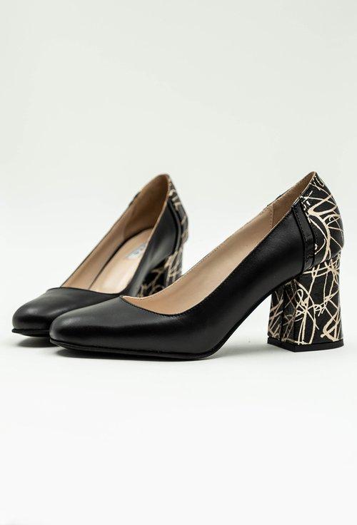 Pantofi negri din piele naturala cu imprimeu auriu pe toc
