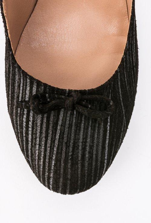 Pantofi negri din piele naturala cu imprimeu în dungi Raisa