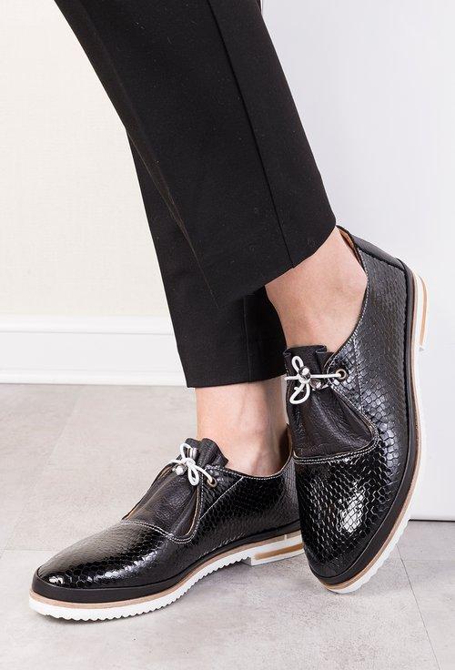 Pantofi negri din piele naturala cu imprimeu tip piele de reptila Adina