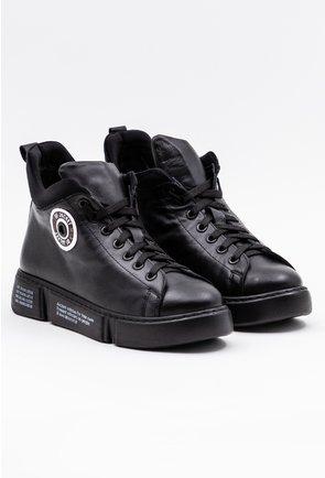 Pantofi negri din piele naturala cu influente ale stilului sport