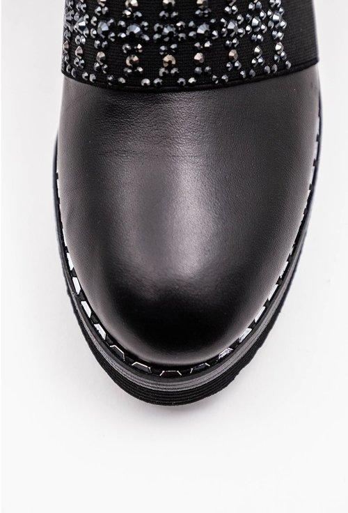 Pantofi negri din piele naturala cu pietricele decorative