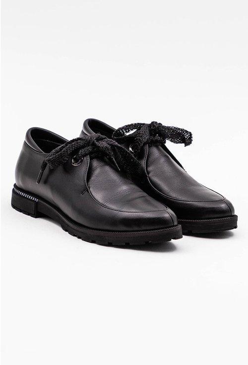 Pantofi negri din piele naturala cu siret panglica