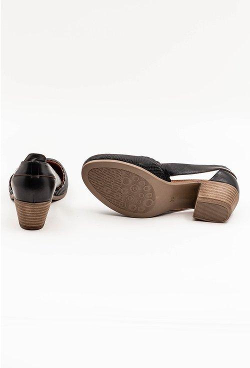 Pantofi negri din piele naturala cu toc gros