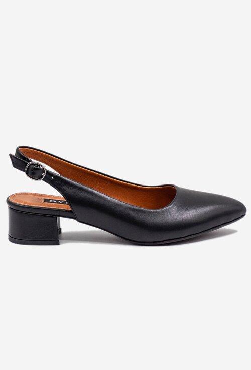 Pantofi negri din piele naturala cu toc mic patrat