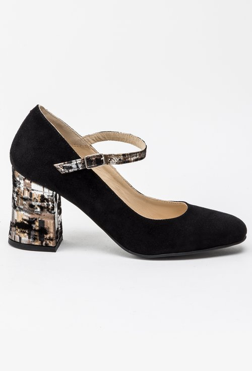 Pantofi negri din piele naturala intoarsa Blaze