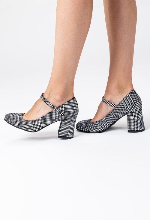 Pantofi negri din piele naturala intoarsa cu picatele Ronna