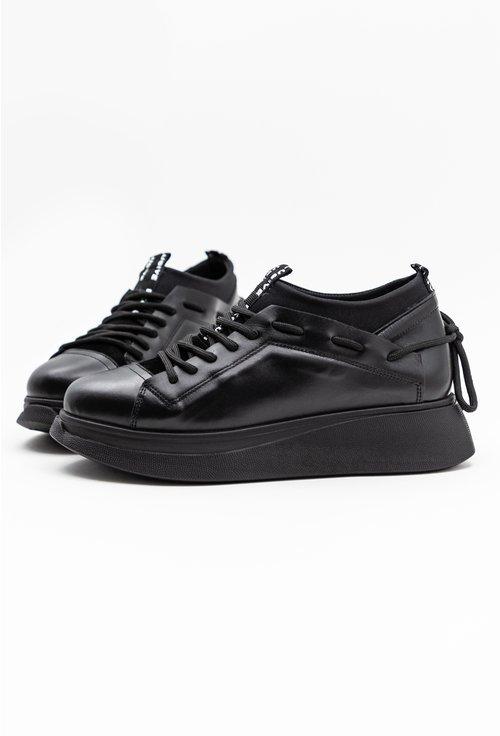 Pantofi negri din piele naturala si material textil