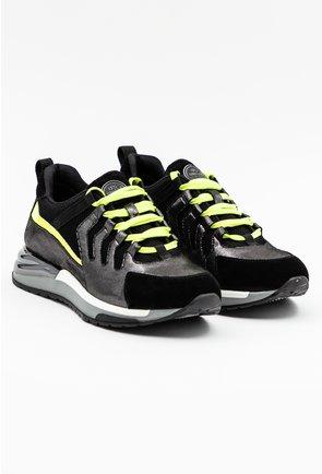 Pantofi negri din piele naturala si material textil cu detalii neon