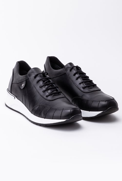 Pantofi negri sport din piele naturala cu talpa alba
