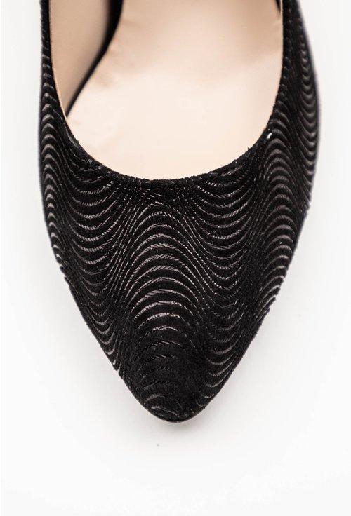 Pantofi negri stiletto din piele naturala intoarsa
