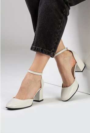Pantofi nuanta alb fildes din piele naturala cu bareta