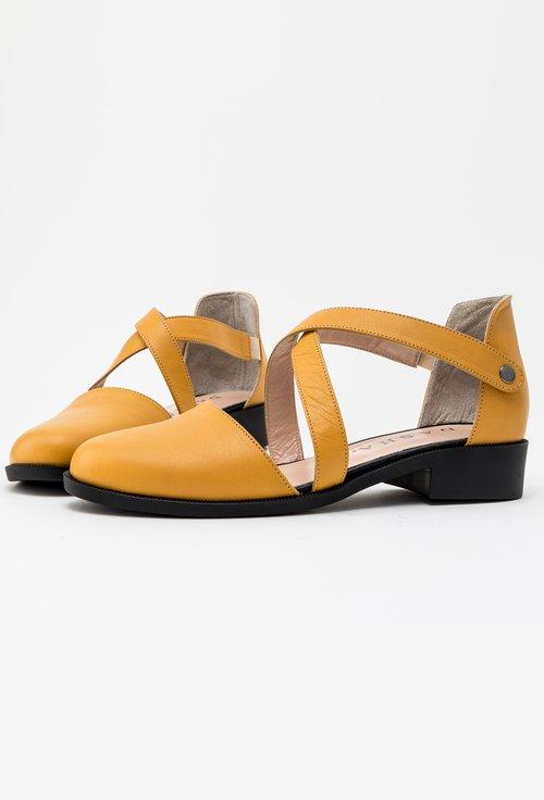 Pantofi nuanta galben mustar din piele naturala Dory