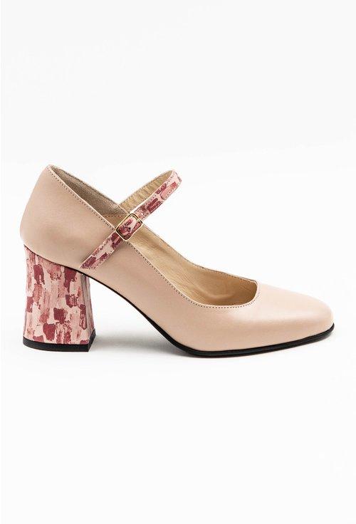 Pantofi nuanta nude din piele naturala cu detaliu pe toc