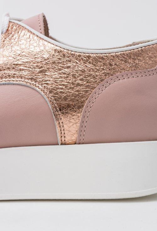 Pantofi nude cu rose gold din piele naturala Jerry