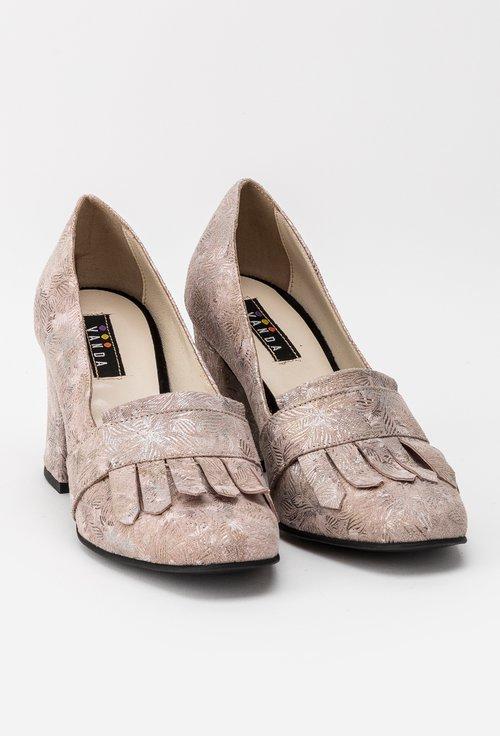 Pantofi nude roze din piele naturala Bertin