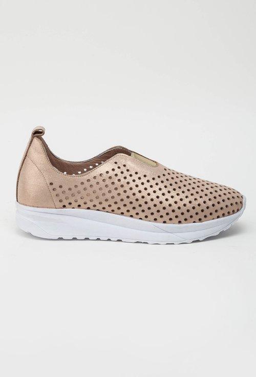 Pantofi nude sidefat din piele naturala perforata Kim