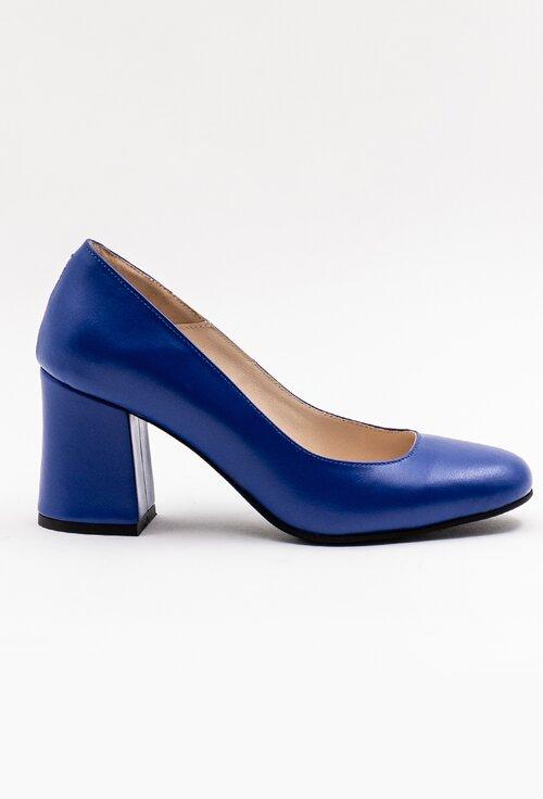 Pantofi office albastri din piele naturala cu toc gros
