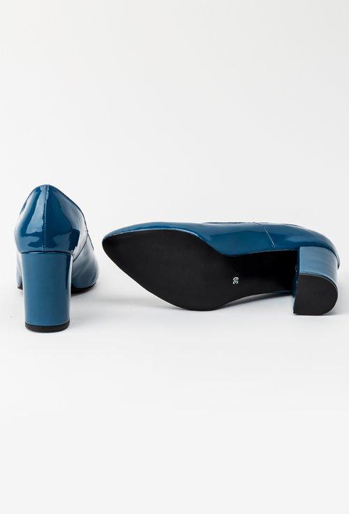 Pantofi office albastri din piele naturala lacuita Lady