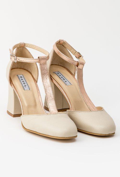 Pantofi office bej din piele naturala Misty