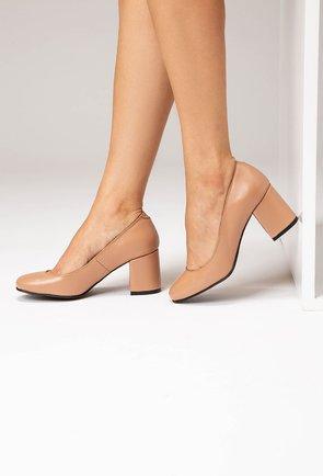 Pantofi office bej din piele naturala Rox
