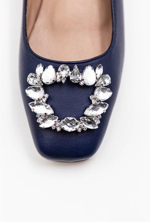 Pantofi office bleumarin din piele accesorizati cu brosa