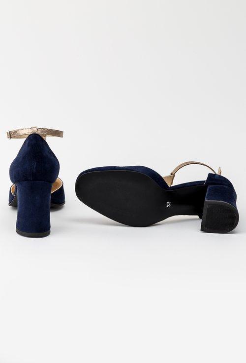 Pantofi office bleumarin din piele naturala intoarsa Reya
