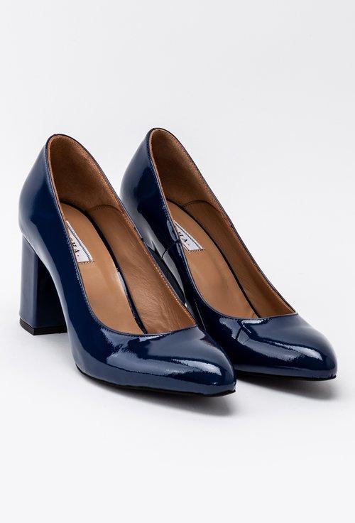 Pantofi office bleumarin din piele naturala lacuita