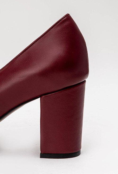 Pantofi office bordo din piele naturala mata Lady