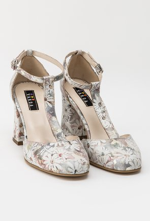 Pantofi office cu imprimeu floral din piele naturala Misty