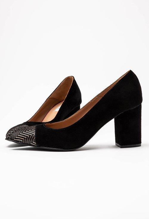 Pantofi office negri din piele intoarsa cu detaliu in varf
