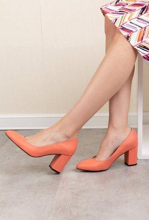 Pantofi office roz trandafiriu din piele naturala mata Lady