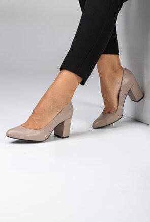 Pantofi office taupe din piele naturala box