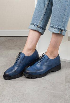 Pantofi Oxford albastri din piele naturala Corint