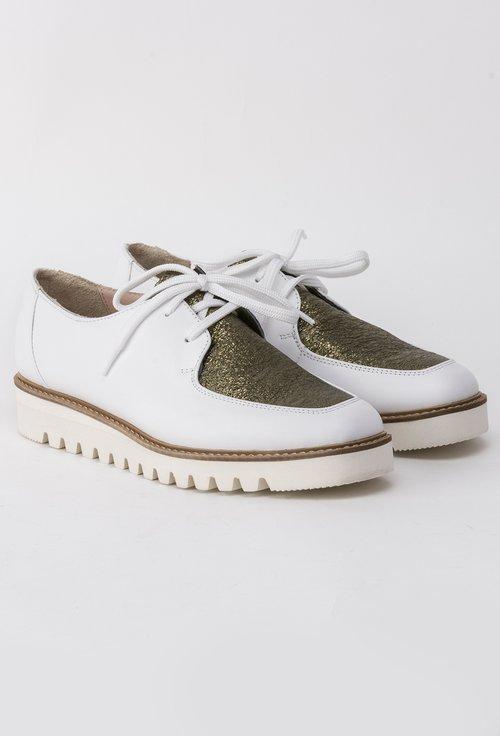 Pantofi Oxford albi din piele naturala in combinatie cu kaki metalizat Donna