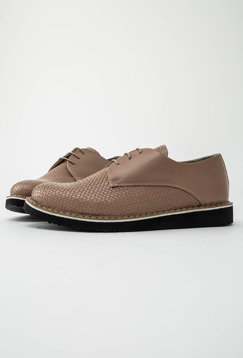 Pantofi Oxford bej din piele naturala Patriss