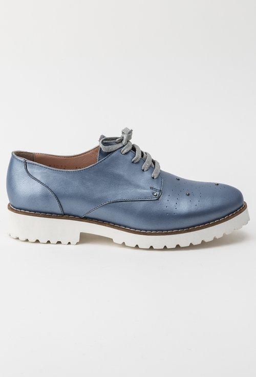 Pantofi Oxford bleu sidefat din piele naturala Malini