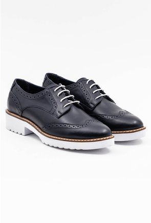 Pantofi Oxford bleumarin din piele naturala cu talpa alba